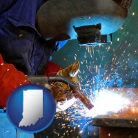 indiana an industrial welder wearing a welding helmet and safety gloves